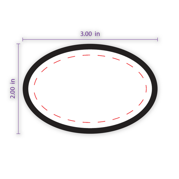 "3"" x 2"" Oval Custom Patch with Adhesive & Black Border"