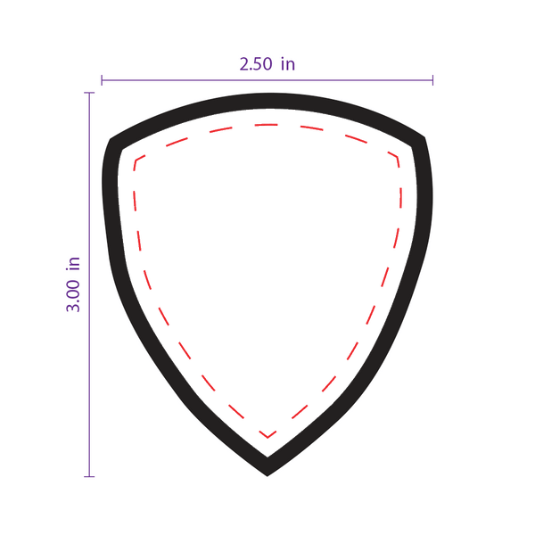 "2.5"" x 3"" Shield (2) Custom Patch with Adhesive & Black Border"