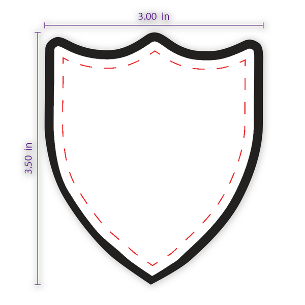 "3"" x 3.5"" Shield (3) Custom Patch with Adhesive and Black Border"