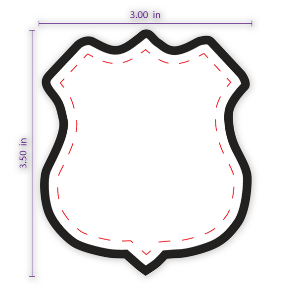 "3"" x 3.5"" Shield (4) Custom Patch with Adhesive and Black Border"