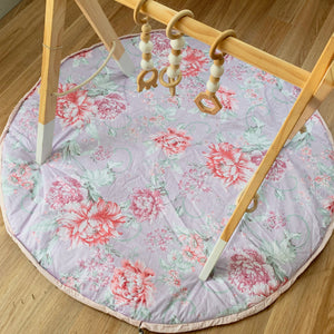 Savannah floral padded outdoor playmat &/or swoop bag (1m) - Sew Contented Handmade