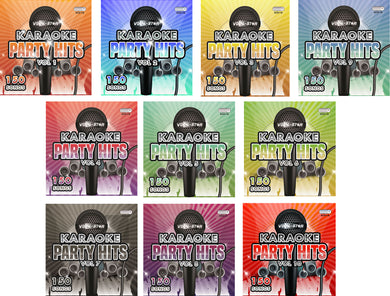 VOCAL-STAR PARTY HITS 1 -10  KARAOKE CDG DISC SET BUNDLE - 1500 SONGS