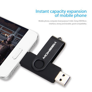 2 in 1 OTG/USB Flash Drive Memory Stick For Android Smartphones And Desktop Computers - 4GB 8GB 16GB 32GB 64Gb By Moweek - Rodco Global