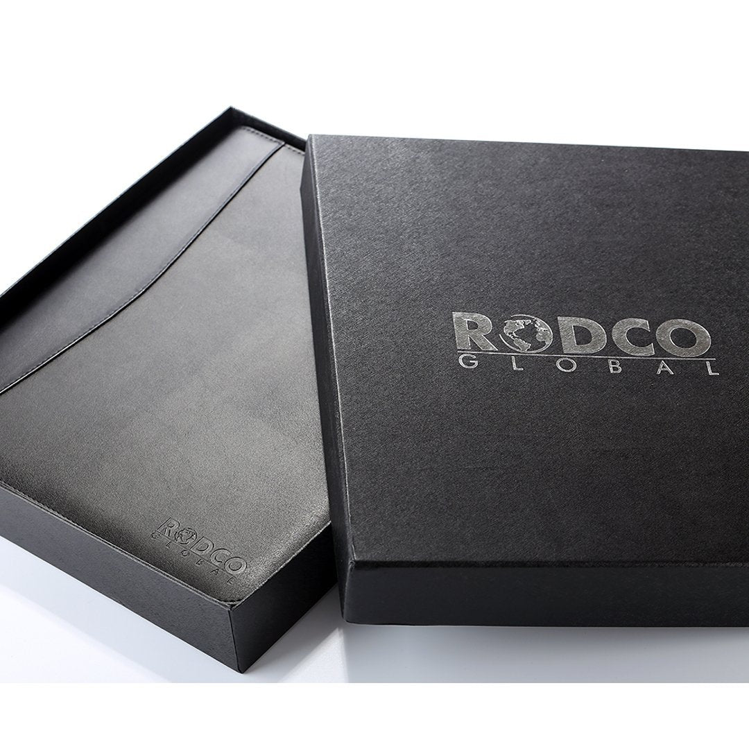 "Rodco Global Executive Portfolio Padfolio - Zippered Premium PU Leather with 4 Ring Binder, Phone/Tablet Pockets, A4 Notepad (8.3"" x 11.7""), Multiple Storage Pockets, Black - Rodco Global"