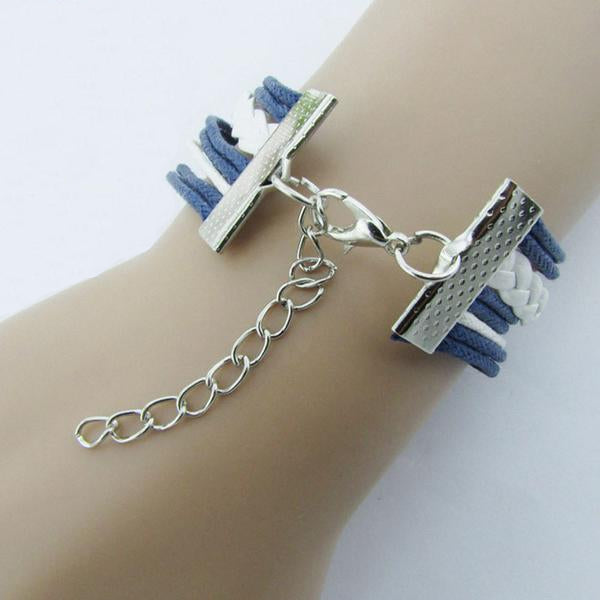Silver Infinite Bracelet Nautical Blue Leather Rope by SUSENSTONE - Rodco Global