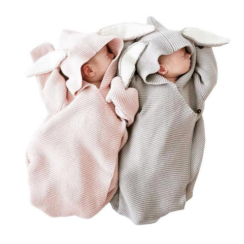 Knitted Baby Wrap Swaddle Blanket with Rabbit Ears by MILANCEL - Rodco Global