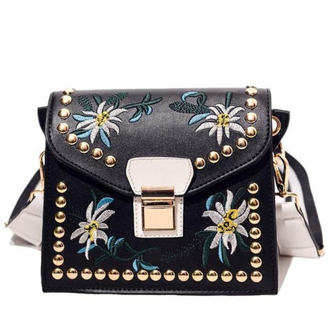Women's Fashion Leather Messenger Flower Crossbody Handbag by RANYUE - Rodco Global