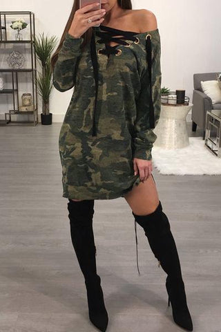 army green camouflage camo print mini dress with black lacing