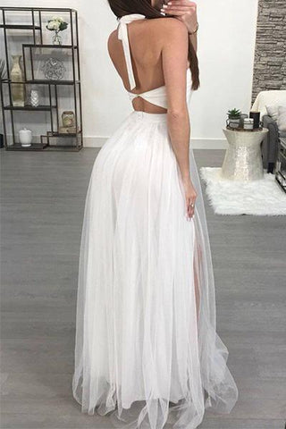 long white backless floaty tulle maxi dress