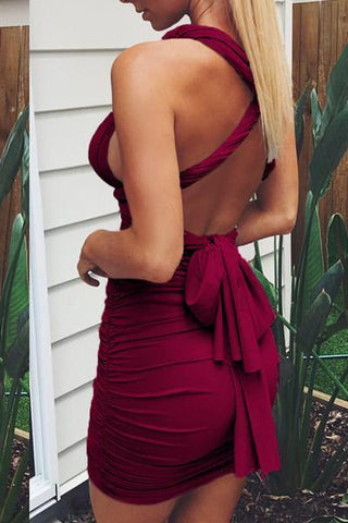 wine red backless mini bodycon dress with bow detail
