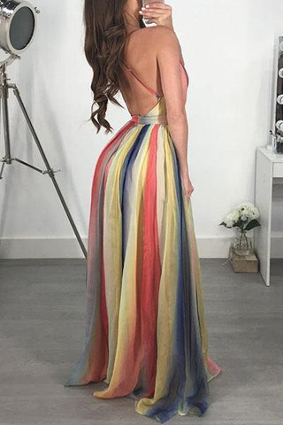 Rainbow stripe backless maxi halterneck sun dress