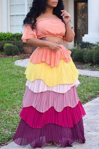 peach yellow pink purple tiered layered gypsy maxi skirt