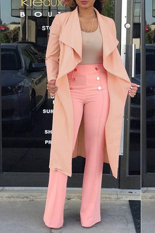 pastel pale baby pink coat and high waisted pants