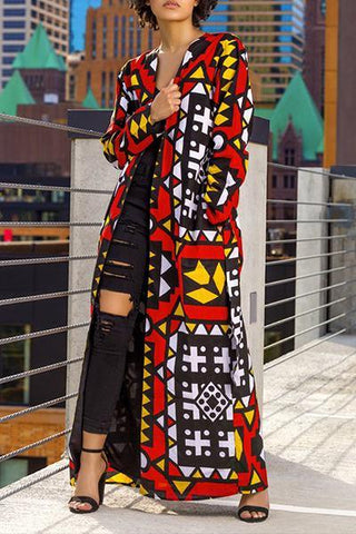 red black & yellow geometric print long bright bold lightweight fall coat jacket