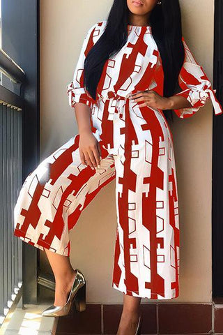 geometric print red and white cropped all-in-one romper jumpsuit