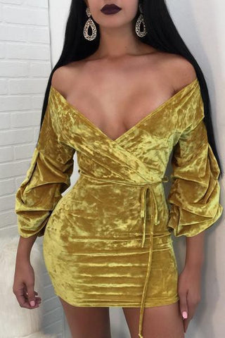gold puff sleeve velvet off shoulder mini dress