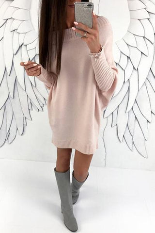 baby pink wide neck mini sweater dress