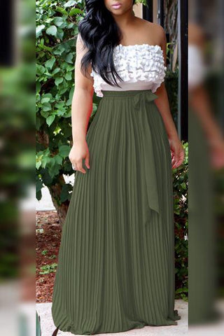 long olive green pleated maxi skirt