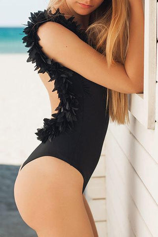 Black flower ruffle strap one piece backless swimsuit