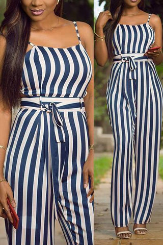 nautical blue and white striped sleeveless jumpsuit