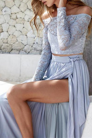 pale blue pleated maxi skirt with thigh high slit