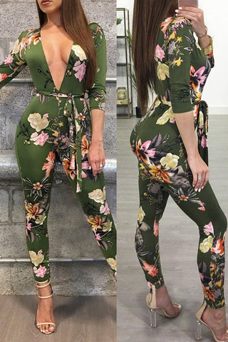 Green floral deep V neck printed all-in-one jumpsuit online
