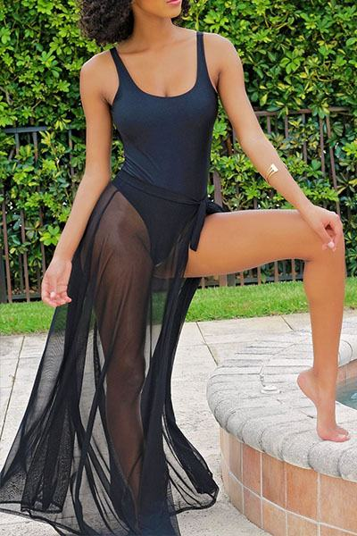 Plain Scoop Neck Swimsuit & Matching Sheer Sarong