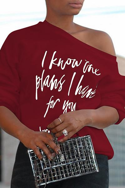 Biblical Quote Slash Neck One Shoulder Printed Sweatshirt T-Shirt