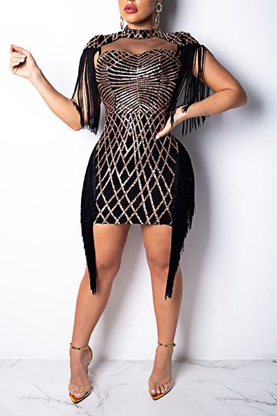 02823e4c Patchwork Cap Sleeve Turtle Neck Party Sequinned Fringing Mini Dress ...