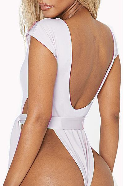 Solid Color Cap Sleeve Square Neck Girly One Piece Swimsuit