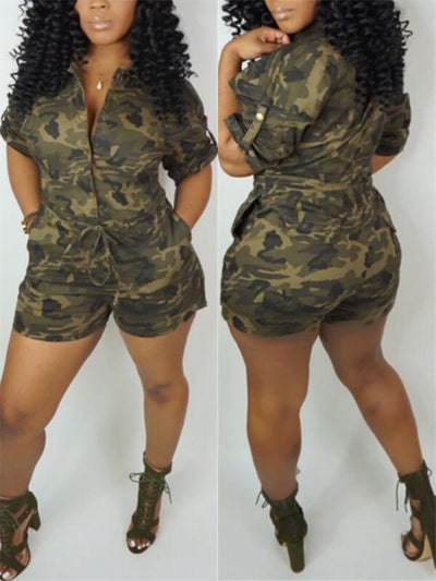 Camo Button-Down Romper