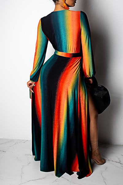 Black Long Sleeve Deep V Neck Striking Slit Long Maxi Dress