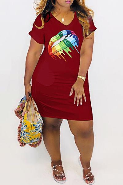 Colorful Lips Print Short Sleeve V Neck Laid Back Mini Dress