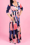 Graphic Print 3/4 Length Sleeve V Neck Glamorous Maxi Dress With Belt