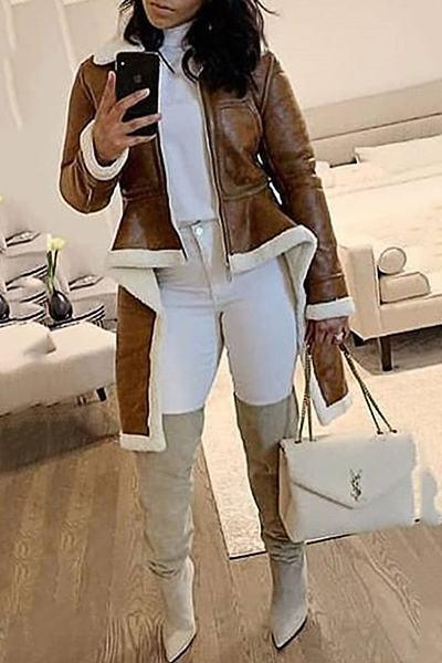 Luxe Long Sleeve High Neck Plain Multi-Length Zipper Jacket