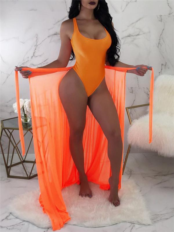 Solid One-piece Swimsuit with Mesh Cover-up