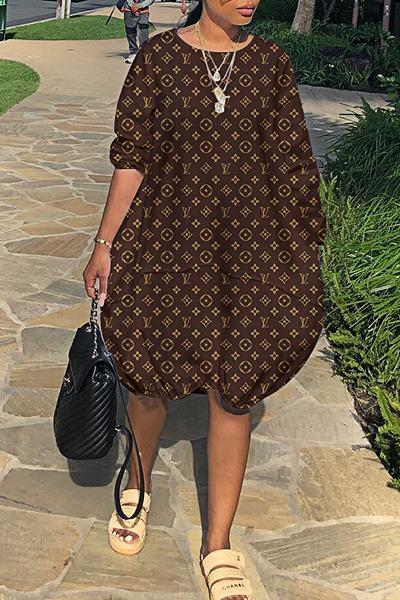 Graphic Print Long Sleeve Loose Fit Stunning Knee-Length Dress