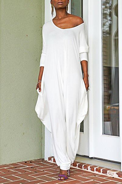 Boho Long Sleeve Sweetheart Neck White Long Jumpsuit