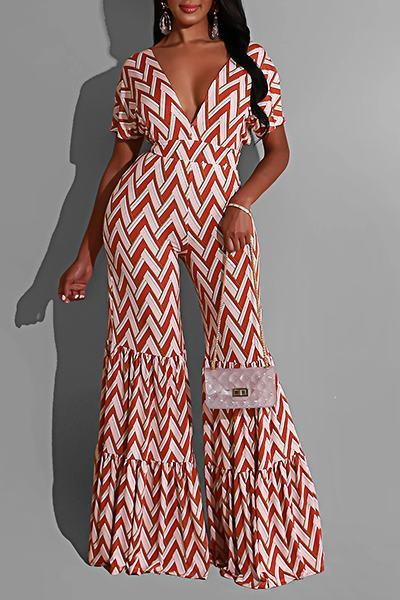 Pretty Short Sleeve Wide Leg Zig Zag Long Backless Jumpsuit