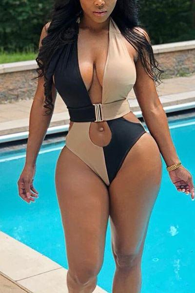 Elegant Sleeveless Halter Neck Color Block Backless Swimsuit