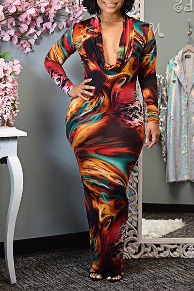 Abstract Print Long Sleeve Cowl Neck Glamorous Long Tailored Dress