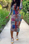Bold Long Sleeve Round Collar Abstract Print Pencil Dress