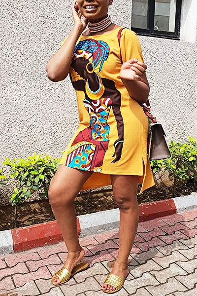 African Girl Print Short Sleeve Boat Neck Smart Mini Dress