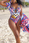 Tribal Print  Bright Spaghetti Strap One Piece Swimsuit