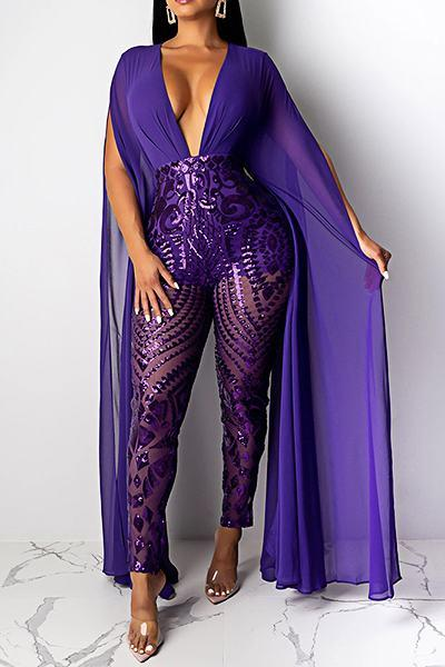 Whimsical Split Sleeve Deep V Neck Purple Embroidery Long Jumpsuit