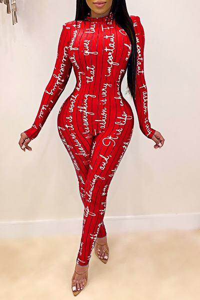 Edgy Long Sleeve Turtle Neck Abstract Print Jumpsuit
