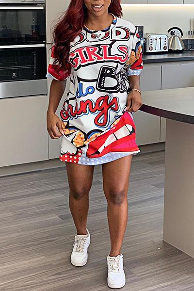 Smart Short Sleeve Round Collar Cartoon Print Mini Dress