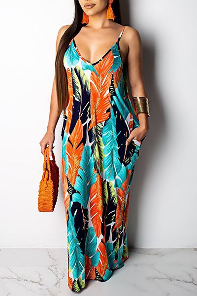 Leaf Print Sleeveless Spaghetti Strap Beachy Maxi Dress