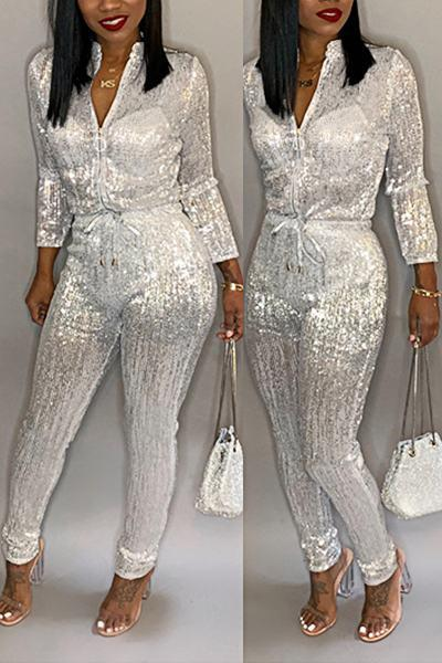Solid Color Long Sleeve Mandarin Collar On-trend Long Zipper Jumpsuit