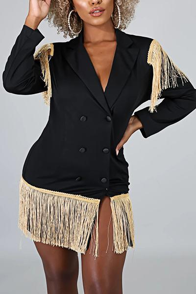 Boyish Long Sleeve Lapel Collar Patchwork Tassels Blazer Dress